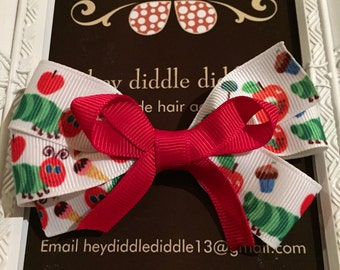 The Very Hungry Caterpillar Inspired Bow