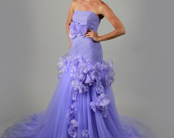 Strapless Sleeveless Crystal Floral Pin Court Train Purple Wedding Dress Sweetheart Organza Elegant