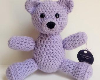 Lilac Purple Crocheted Teddy Bear