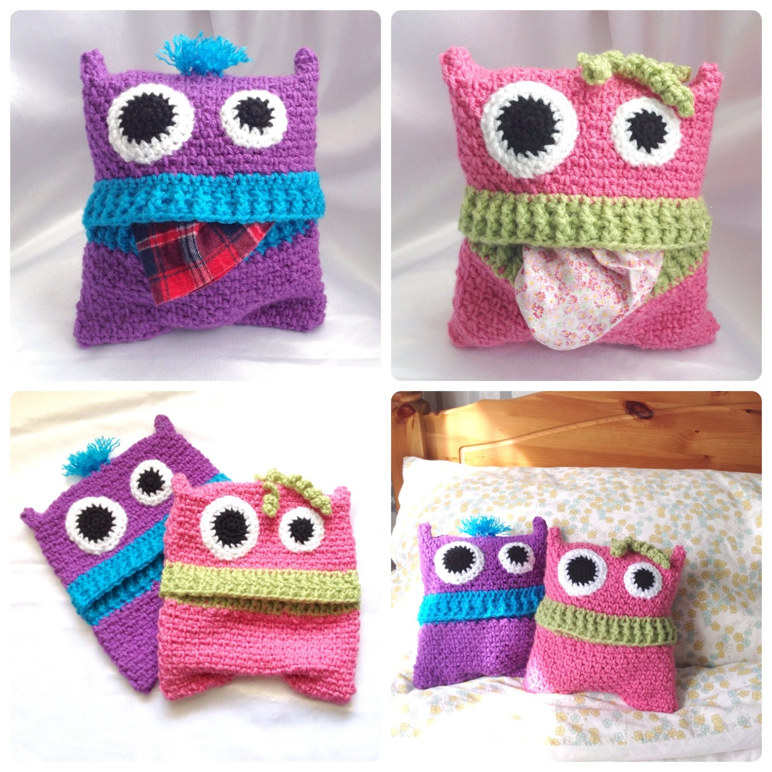 Free Crochet Patterns For Pajama Bags : Pyjama Monsters Pajama Case Crochet PDF by HookedoPatterns