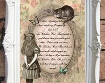 ALICE in Wonderland Decor Alice in Wonderland Art Print Alice in Wonderland Vintage Alice in Wonderland Decoration Mad Hatter Party C:A11