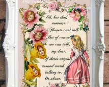 ALICE in Wonderland Print Alice in Wonderland Party Alice in Wonderland Decor Alice in Wonderland Decoration Mad Hatter Tea Party   C:A043