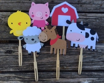12 Farm Party Cupcake Toppers,  Barn Animals, Baby Shower, Birthday Party, Farm Party, First Birthday
