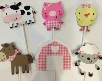 12 Girl Farm Animal Cupcake Toppers