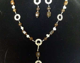 Bronze, Pearls, and Silver Necklace and Earring Set