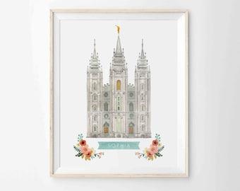 """LDS Salt Lake City Temple Print - Personalized - Archival 8""""x10"""" - SLC Temple"""