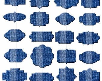 Denim fabric labels Clipart Blue digital tags frames PNG. Instant download