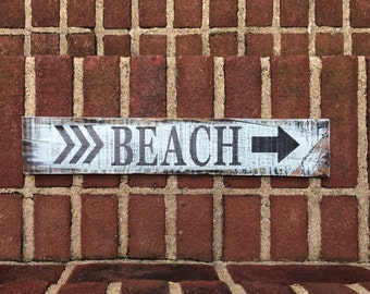 Rustic handmade beach arrow sign