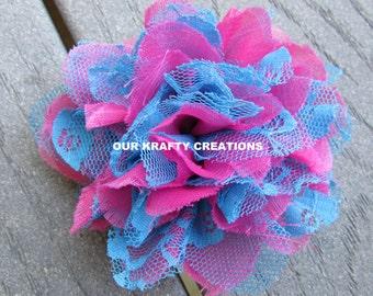 Chiffon Lace Flower, Lace Hair Clip, Hair Clip, Hair Accessory, Lined Hair Clip, Womens Hair Clip, Toddler Hair Clip