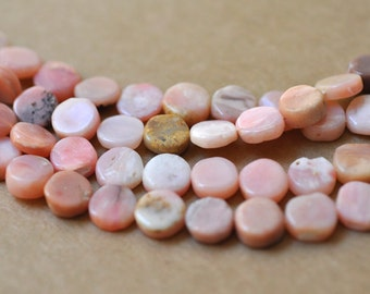 "Pink Peruvian Opal Coin Beads 10-13 mm in size 16"" Strand"