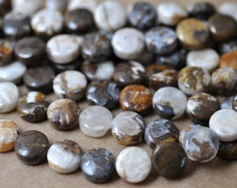 """Brioche Agate Coin Beads 10 MM 16"""" Strand Brown Agate Coin Beads Wholesale"""