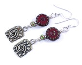 Handmade Spiral Charm Earrings With Silver, Czech Glass Red Picasso Beads and African Trade Beads