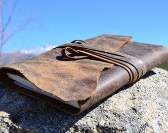 Journal Cover - Leather - Sketchbook- Refillable - Hand Stitched - Notebook - Sketch Book Cover - Handmade by TahoeMade