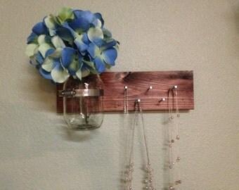 Beautiful  stained Key holder with mason jar vase, jewelry holder with decorative wall vase, necklace holder, entry way shelf