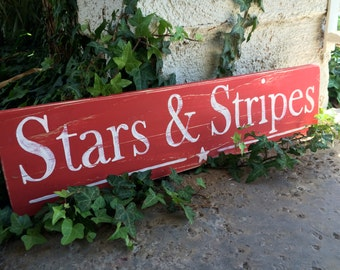 Stars and Stripes Patriotic Wood Sign