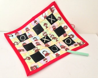 SALE    Monkey Chalkboard fabric tic tac toe roll
