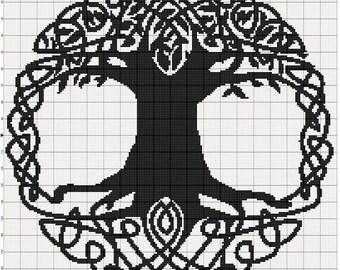 Filet Crochet Pattern - Celtic Tree