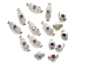 Set of Ornament Jade and Flower Connector - Silver Plated over Brass Bezel - 15 pc