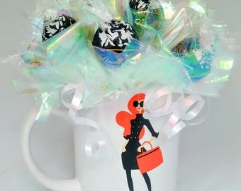 Fastion Mug with Lindor Truffles, Chocolate Bouquet, Chocolate gifts, candy arrangement Mother's day gift