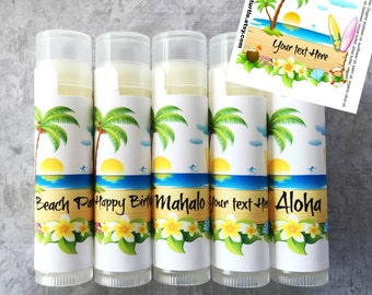 Luau Party Lip Balm Favors - 5Pc - FREE Customization-Luau Party-Beach Party-Luau Party Favor-Hawaiian Theme Party Favors-Hawaii Vacation