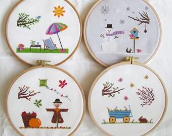 Four Seasons Cross Stitch Pattern Set-spring, summer, autumn, winter, PDF, instant download