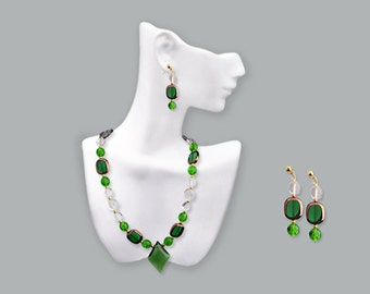 """Green and white crystal """"Elven Princess"""" Necklace with Earrings"""