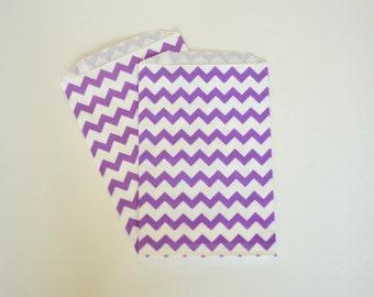 Purple Chevron Favor Bags // Chevron Treat Bags // Large Paper Bags (Set of 25)