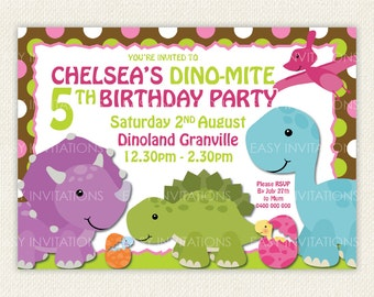 Dinosaur Birthday Invitation Dino Digital Printable