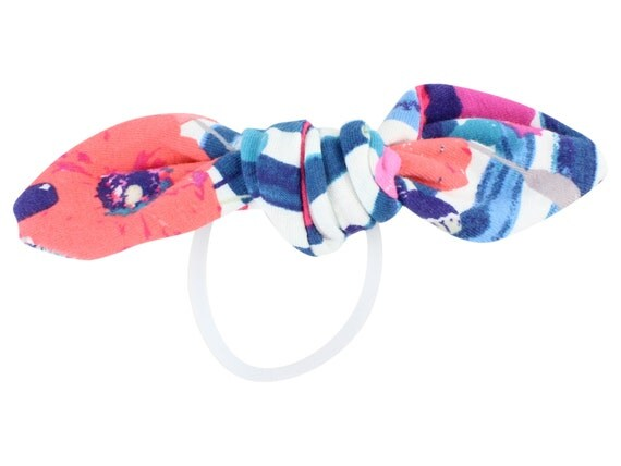 Blue Coral Floral Child Adult Knotted Hair Bow Ponytail Holder Blue Coral Knotted Bow Toddler or Adult Hair Accessories Coral Hair Tie