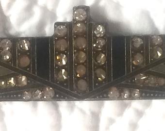 JEWELRY SALE: Vintage Rhinestone and Enamel Deco Pin