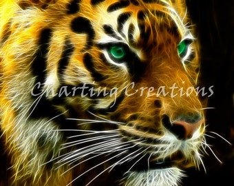 Fractal Tiger Counted Cross Stitch Pattern