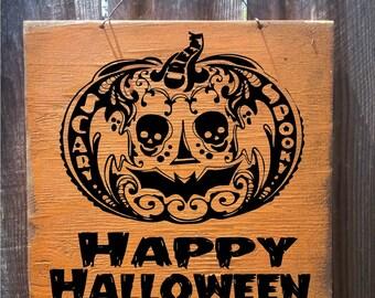 halloween decor, halloween decorations, halloween signs, jack o lantern, pumpkin sign, happy halloween, halloween wall decor