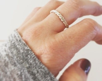 Twisted rope sterling silver ring stacking rings