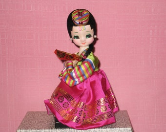 Vintage Asian Big Eyes Sitting Doll with Box (Japan)