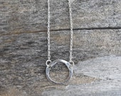 Sterling Silver Circle Pushed Metal Pendant  Necklace,  Minimal Necklace, Simple Necklace, Charm Necklace