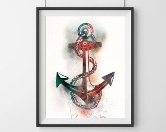 Anchor Watercolor Print, Anchor Painting, Anchor Art,Home Decor, anchor poster, watercolor painting, anchor art, anchor print, art print- 32
