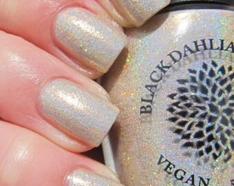 Gold Holo Shimmer Micro Glitter Nail Polish -- Gold Rush by Black Dahlia Lacquer