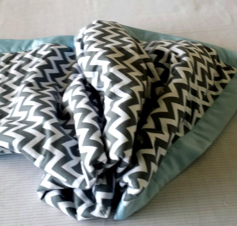 Gray Chevron Flannel & Blue Fleece Blanket With Satin Binding