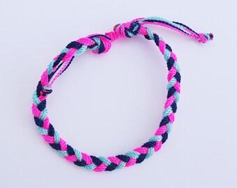 Neon girl  bracelet/anklet, waterproof, no fade,adjustable,braided,string bracelets,toddler,teen, adult frienship ADVENTURE BRACELETS