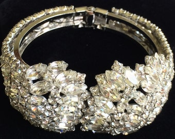 Glittering D&E Juliana Clamper Bracelet~Clear Rhinestones/Silver Tone