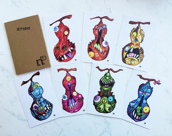 "Pack of 7 Postcards, ""Monster Gourds"" Series"