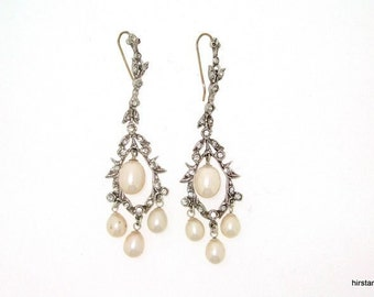Pearl Earrings Silver Crystal Bridal Vintage Wedding
