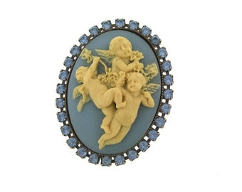 Blue Cameo ring by Frangos with Wedgewood style cherubs