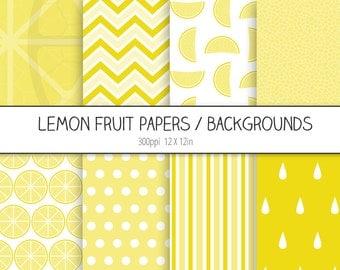 Lemon Digital Paper Pack / Backgrounds - Fruit Digital Paper, Citrus - Scrapbooking, Digital Wallpaper - INSTANT DOWNLOAD