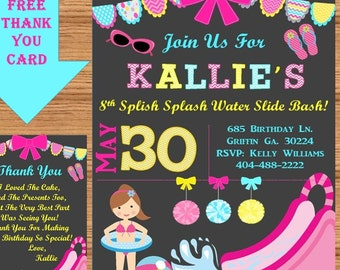 Water Slide Birthday Party Invitation, Swimming Party, Water Slide, Printable Invitation, Personalized, Girls Party, Product# Pool 0004