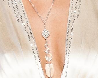 "Stunning Couture Crystal Quartz, Swarovksi Bridal Drop Necklace ""Siren"""