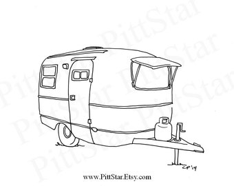 Instant Download - Boler Travel Trailer  - Printable Coloring Page