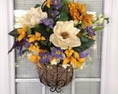 Black Metal basket, Magnolia, Sunflower, Moss, Front Door Decor, Summer, Gift, Calla Lilly, Iris