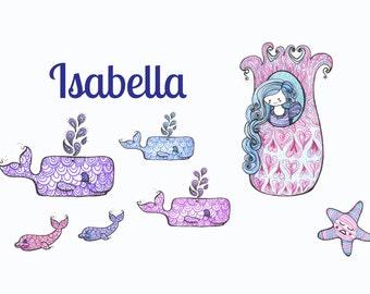 "Personalized kids wall art- Rapunzel under the sea. Giclee art print of an original illustration (8x10"")"