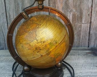 Great vintage metal globe lamp